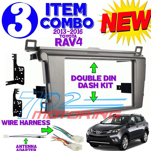 TOYOTA RAV4 2013-UP Radio Stereo Installation Mounting Dash Kit Combo +WH+AT