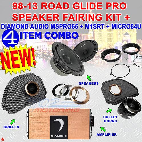 98-13 ROAD GLIDE PRO SPEAKER FAIRING KIT DIAMOND AUDIO MSPRO65 + M1SRT +MICRO4V2
