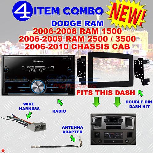 06 07 08 09 10 DODGE RAM CAR STEREO RADIO DOUBLE DIN INSTALL DASH PANEL KIT DR47