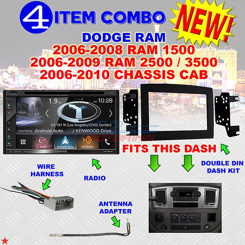 06 07 08 09 10 DODGE RAM CAR STEREO RADIO DOUBLE DIN INSTALL DASH PANEL KIT DR28
