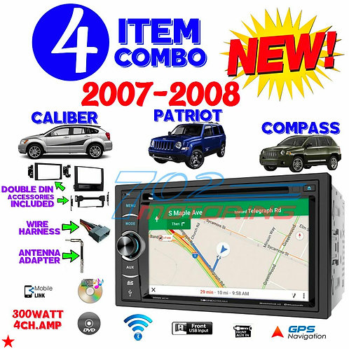 07 08 COMPASS CALIBER PATRIOT NAVIGATION DVD BLUETOOTH DOUBLE DIN CAR STEREO