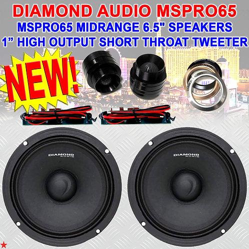 "DIAMOND AUDIO MOTORSPORT SERIES MSPRO65 6.5"" MIDRANGE SPEAKERS + M1SRT TWEETERS"
