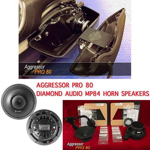 "AGGRESSOR PRO 80 PAIR / 1998 -UP HARLEY DAVIDSON 8"" KIT+ MP84 HORN SPEAKERS"