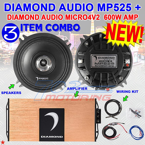"""DIAMOND AUDIO MP525 5.25"""" PRO FULL-RANGE CO-AX HORN SPEAKERS + MICRO4V2 AMP NEW!"""