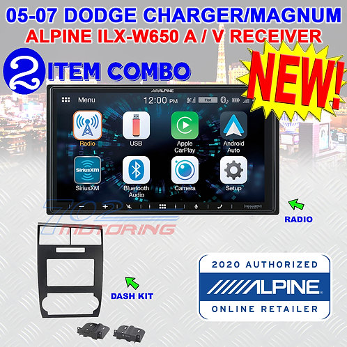 ALPINE iLX-W650 + 05 06 07 DODGE CHARGER MAGNUM RADIO STEREO CAR INSTAL DASH KIT