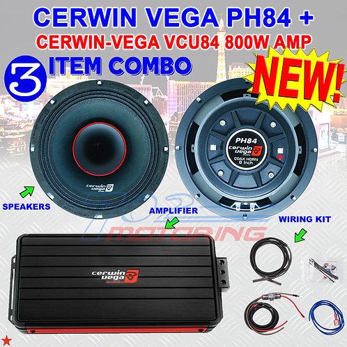 CERWIN VEGA PH84 8-INCH FULL-RANGE CO-AX HORN SPEAKERS + CERWIN-VEGA VCU84 AMP