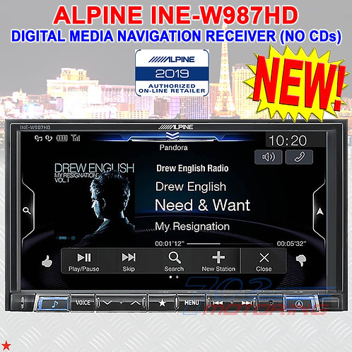 "ALPINE INE-W987HD MECH-LESS DIGITAL MEDIA AV NAVIGATION RECEIVER 7"" (NO CD) RA01"