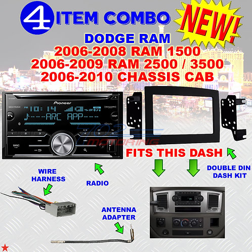06 07 08 09 10 DODGE RAM CAR STEREO RADIO DOUBLE DIN INSTALL DASH PANEL KIT DR42