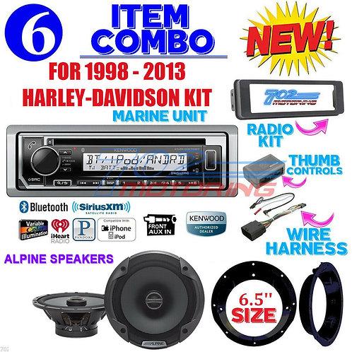 FOR 98-2013 HARLEY KENWOOD MARINE KMR-D372BT RADIO + ALPINE SPEAKER KIT TOURING