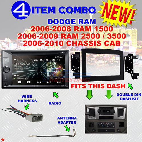 06 07 08 09 10 DODGE RAM CAR STEREO RADIO DOUBLE DIN INSTALL DASH PANEL KIT DR63