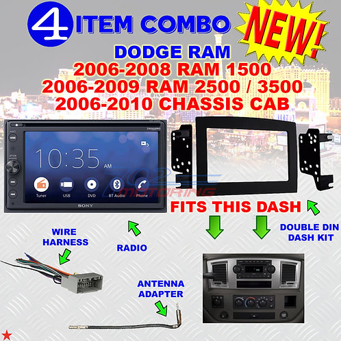 06 07 08 09 10 DODGE RAM CAR STEREO RADIO DOUBLE DIN INSTALL DASH PANEL KIT DR61