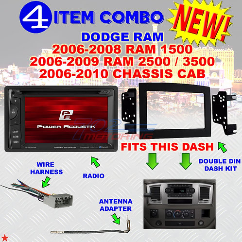 06 07 08 09 10 DODGE RAM CAR STEREO RADIO DOUBLE DIN INSTALL DASH PANEL KIT DR70