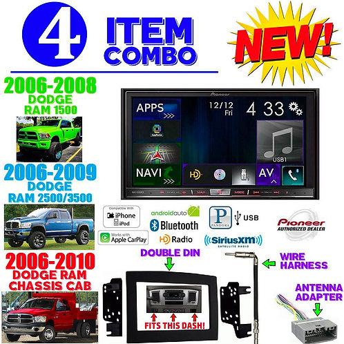 06-10 DODGE RAM AVIC-8100NEX + 95-6528B + HARNESS + ANTENNA ADAPTER