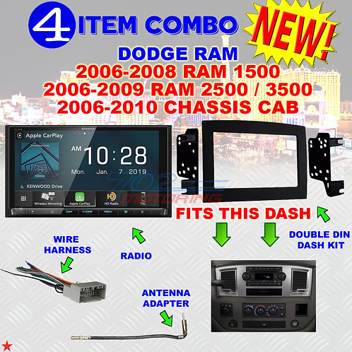 06 07 08 09 10 DODGE RAM CAR STEREO RADIO DOUBLE DIN INSTALL DASH PANEL KIT DR12