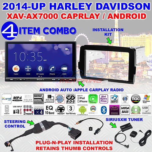 FOR 14-2020 HARLEY 2DIN TOUCH SCREEN RADIO KIT SONY XAV-AX7000 SIRIUSXM HRS01