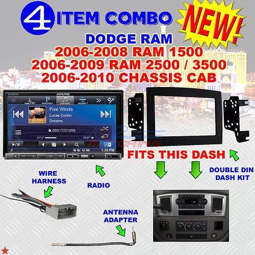 06 07 08 09 10 DODGE RAM CAR STEREO RADIO DOUBLE DIN INSTALL DASH PANEL KIT DR68