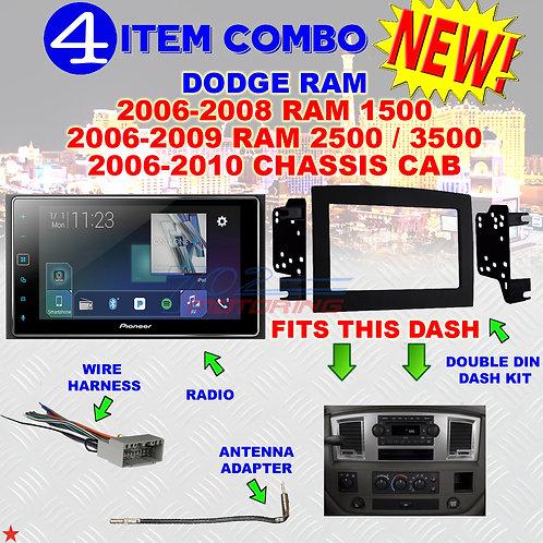 06 07 08 09 10 DODGE RAM CAR STEREO RADIO DOUBLE DIN INSTALL DASH PANEL KIT DR48
