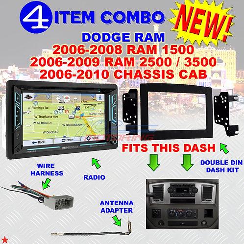 06 07 08 09 10 DODGE RAM CAR STEREO RADIO DOUBLE DIN INSTALL DASH PANEL KIT DR77
