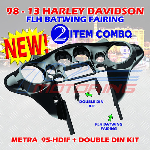 95-HDIF 98-13 FLH BATWING FAIRING + DOUBLE DIN INSTALLATION KIT