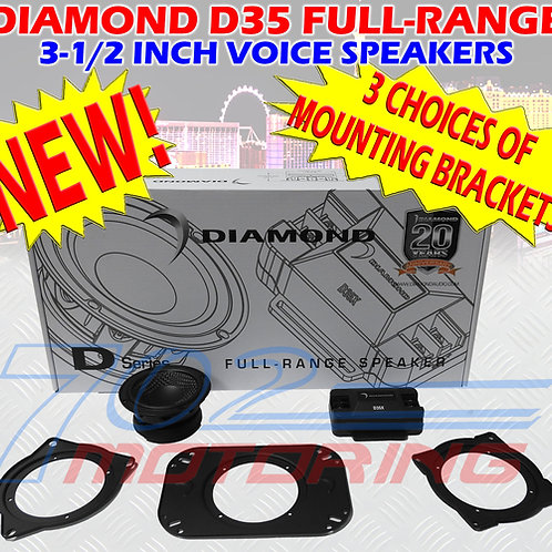 "DIAMOND D35 VOICE 3.5"" CAR AUDIO HI END W 3.5"" + 4.0"" + 4 X 6"" MOUNTING PLATES"