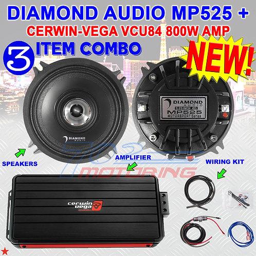 "DIAMOND AUDIO MP525 5.25"" PRO FULL-RANGE CO-AX HORN SPEAKERS + CERWIN-VEGA VCU84"