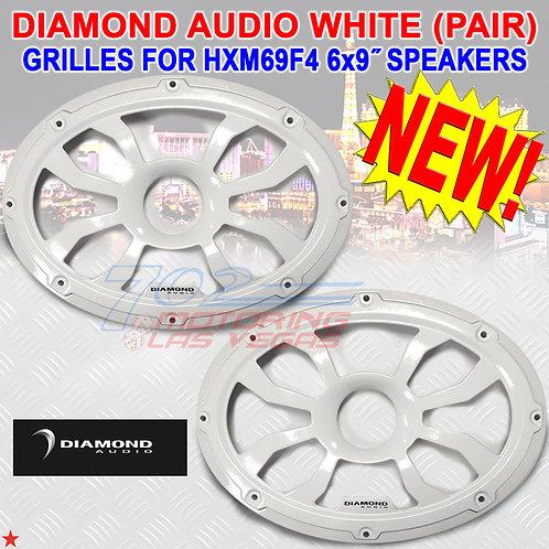 DIAMOND AUDIO HXM69FWW MARINE GRILLES (WHITE) FOR 6X9″ FLUSH MOUNT SPEAKERS PAIR