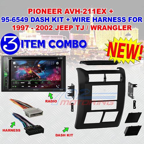 97 - 2002 JEEP WRANGLER / TJ PIONEER AVH-211EX + 2-DIN DASH BEZEL + WIRE HARNESS