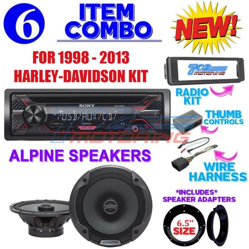 FOR 98-13 HARLEY TOURING STEREO RADIO INSTALL KIT BIKE ELECTRONICS on