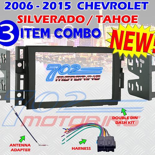 2006-2015 CHEVROLET SILVERADO TAHOE 2 DIN STEREO INSTALL DASH KIT, HARNESS AI