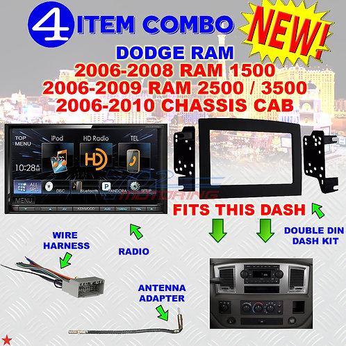 06 07 08 09 10 DODGE RAM CAR STEREO RADIO DOUBLE DIN INSTALL DASH PANEL KIT DR08