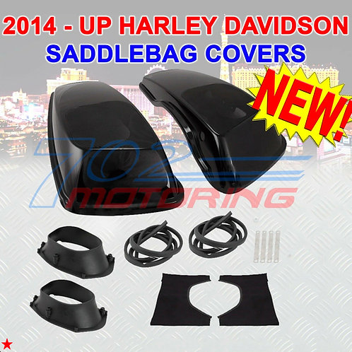 2014 + UP HARLEY DAVIDSON TOURING VIVID BLACK HARD SADDLEBAG 6X9 SPEAKER LIDS