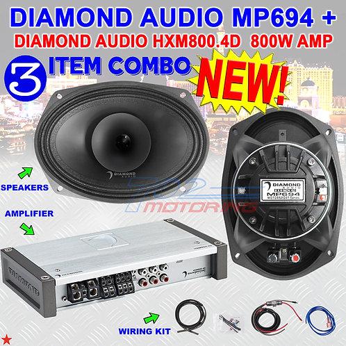 """DIAMOND AUDIO MP694 6""""X9"""" PRO FULL-RANGE CO-AX HORN SPEAKERS + HXM800.4D AMP NEW"""