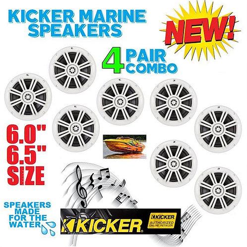 4 PAIRS OF KICKER KM6204W 1KM6204W BKM60 BKM604W MARINE & BOAT SPEAKERS 6.5 INCH