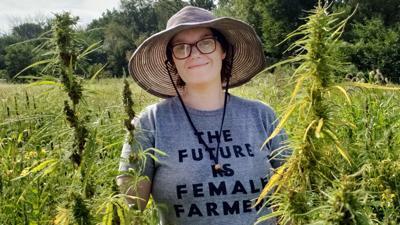 Rachel pictured here in her hemp field