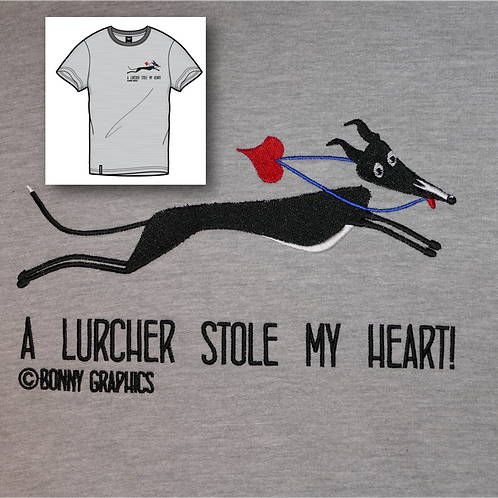 Unisex t shirt with small sighthound design, embroidered to order