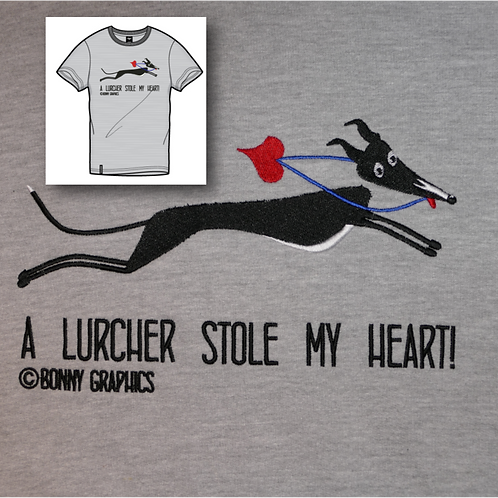 Unisex t shirt with large sighthound design, embroidered to order