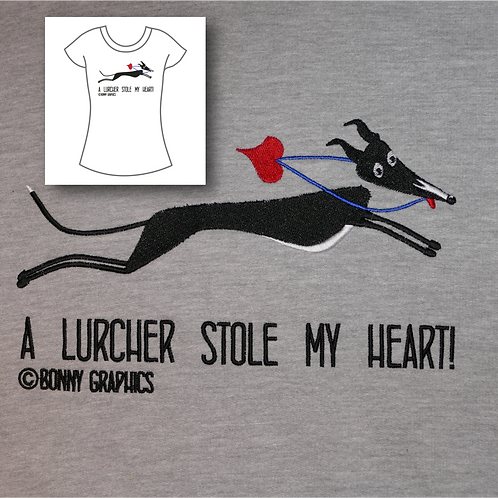 Women's t shirt with large sighthound design, embroidered to order