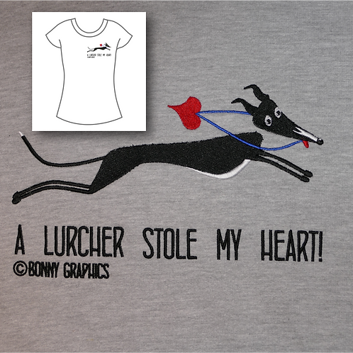 Women's t shirt with small sighthound design, embroidered to order