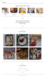 Wix Holiday Recipe Blog website template.