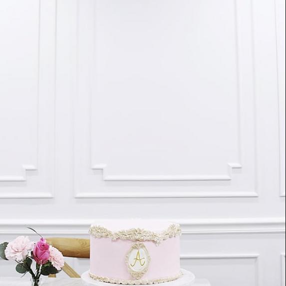 Elegant Monogrammed Cake