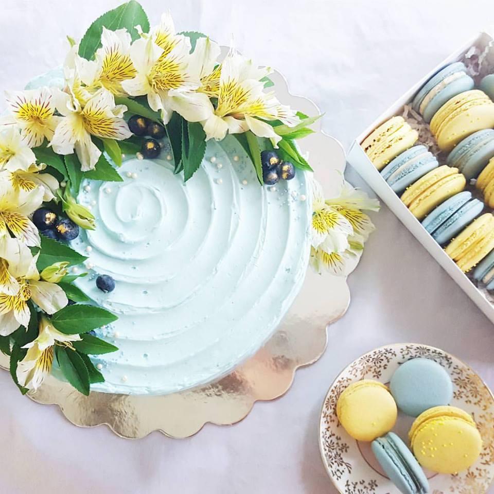 Blue and Yellow Dessert Spread