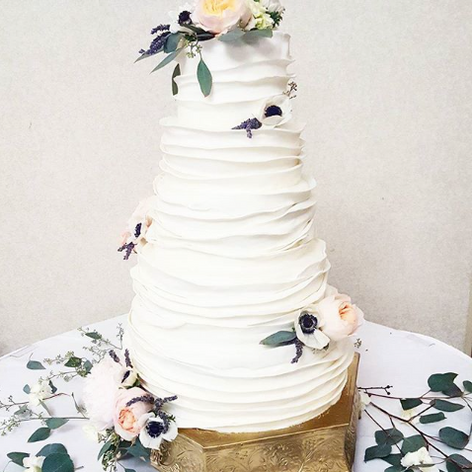 Ruffled White Fondant Wedding Cake