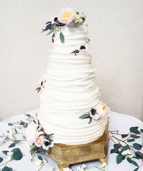 Ruffled White Fondant Wedding Cake