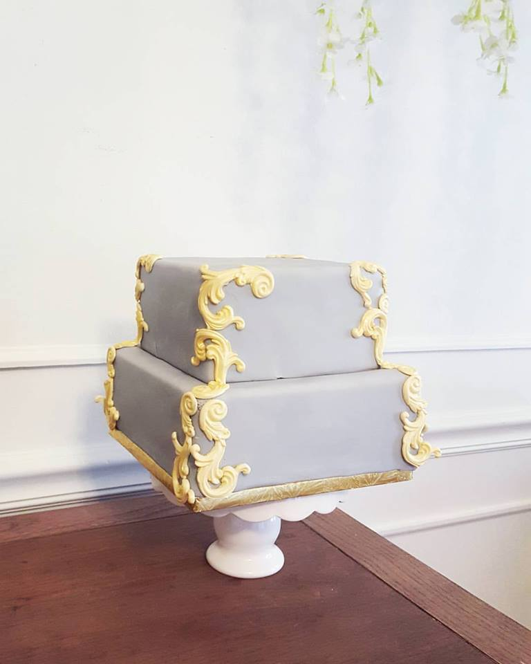 grey and gold gilded cake