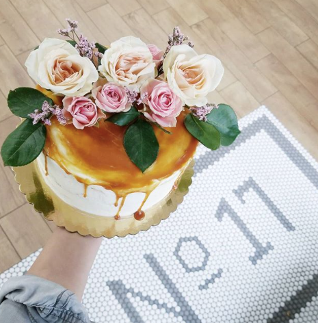 Caramel Drip Cake with Flowers