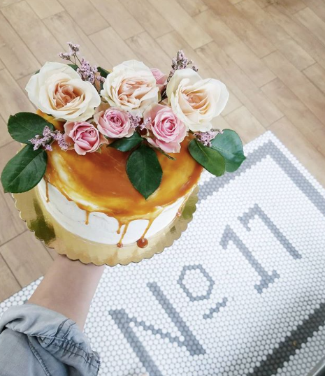 Caramel Drip Cake with Flowers