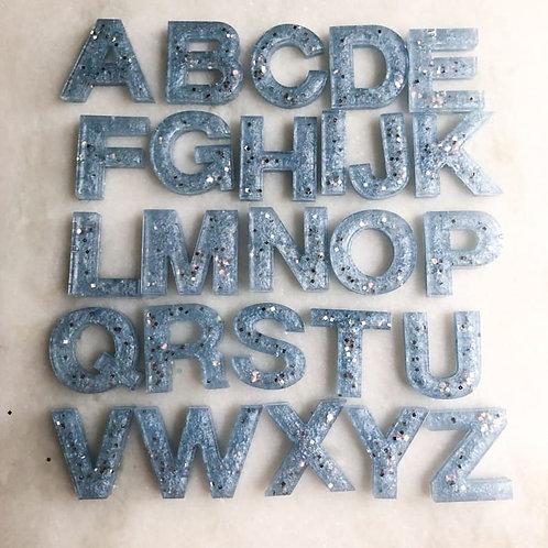 Dusty Blue Glitter Alphabet Pack