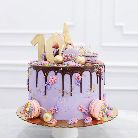 Ice Cream Drip Cake with Macarons