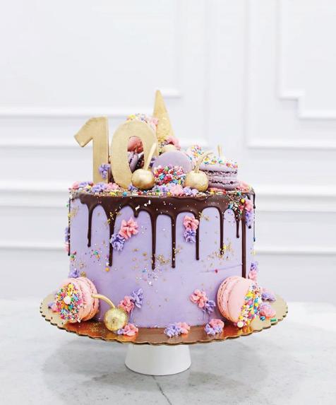 Ice Cream Drip Cake with Macarons