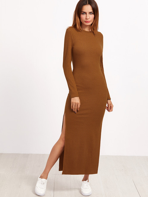 Glamourano Brown Long Sleeve Dress | Online Store In Michigan ...